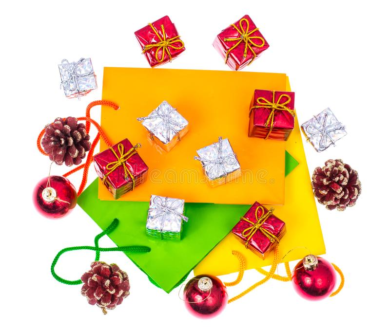 Bright packages and boxes for Christmas and New Year gifts. Studio Photo royalty free stock photos