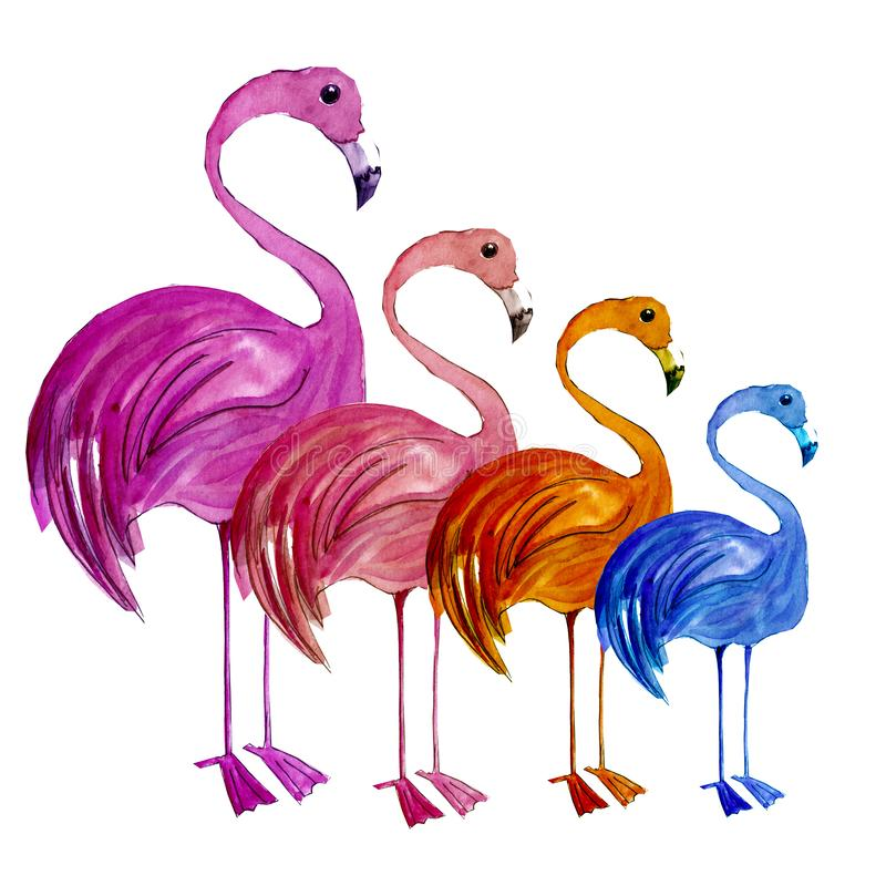 Bright painted flamingos lining up royalty free stock photography