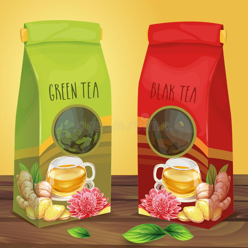 Bright paper packaging for tea hand drawn vector royalty free illustration