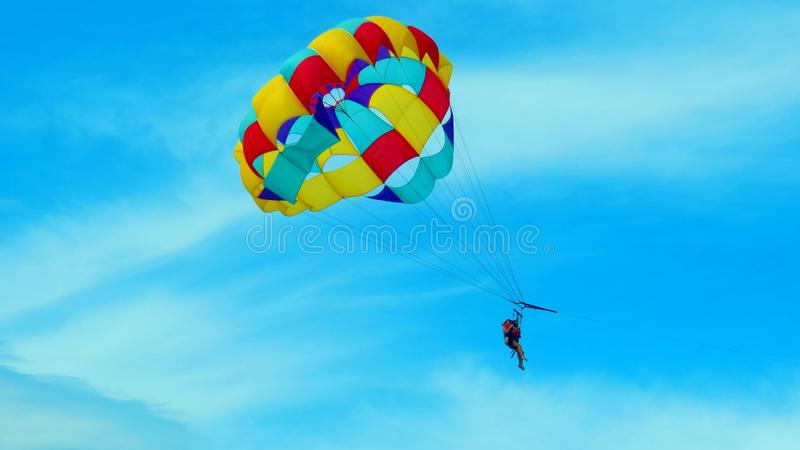 Bright parachute stock photos
