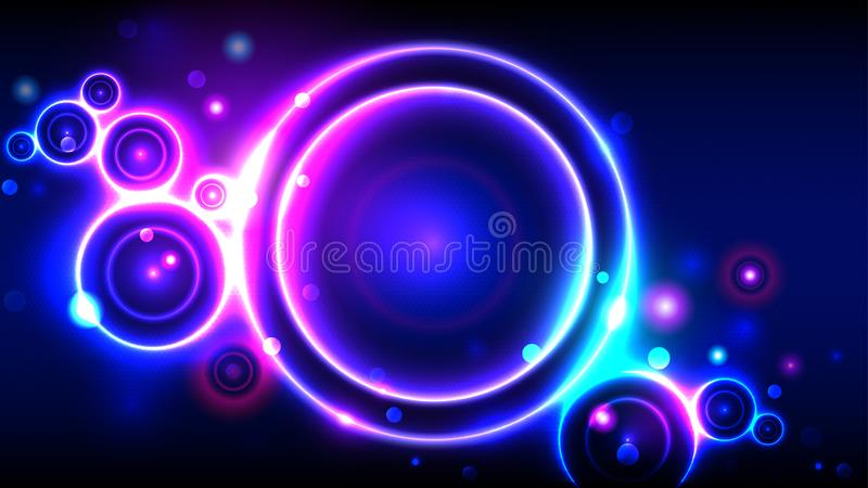 Bright party background, neon glowing circles, abstract multicolor round frame bokeh. Bright party background, neon glowing circles, abstract multicolor round stock illustration