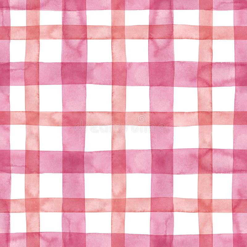 Bright pastel pink plaid checkered seamless pattern. Watercolor stripes and lines on white background. Kilt print stock photos