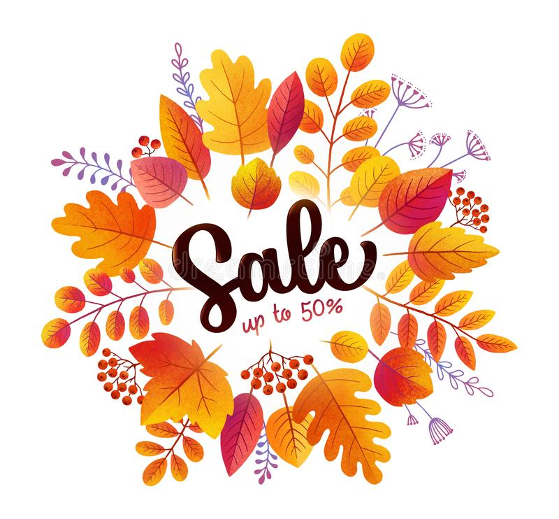 Bright pastel style red and orange autumn leaves Sale vector round banner isolated on white background vector illustration