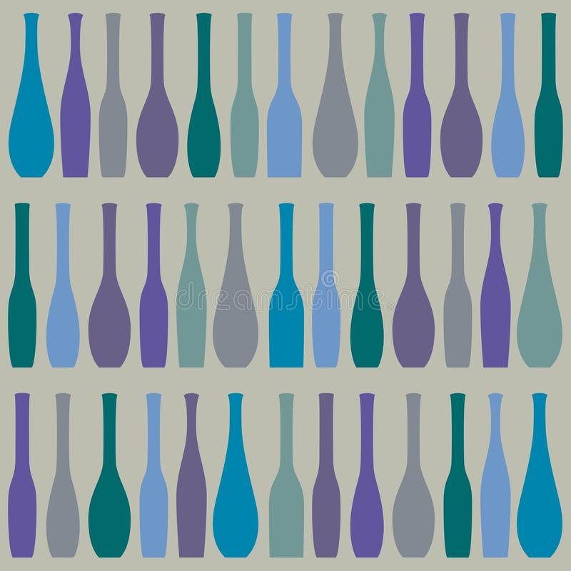 Bright pattern with bottles in a row. Vector illustration vector illustration