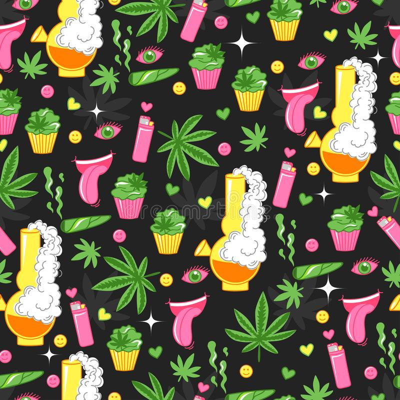 Bright pattern with cannabis, marijuana, cupcakes, smoke, lighter, smile. Funny background with crazy element stock illustration