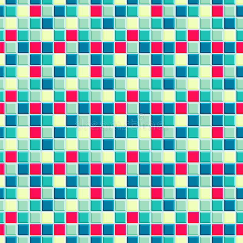 Bright pattern consisting from red, light and dark emerald, light yellow and vivd blue squares royalty free stock photography