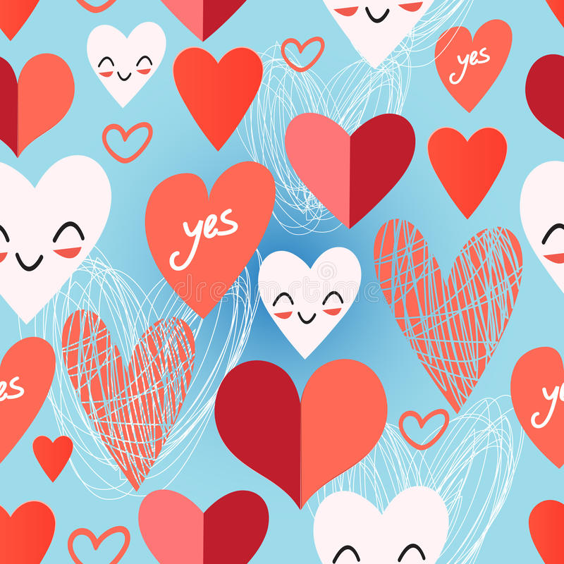 Bright pattern from different hearts stock illustration