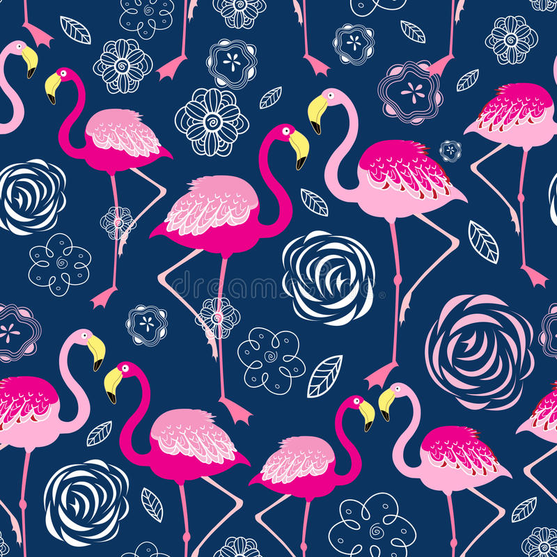 Free Bright Pattern Flamingos Royalty Free Stock Image - 78701356