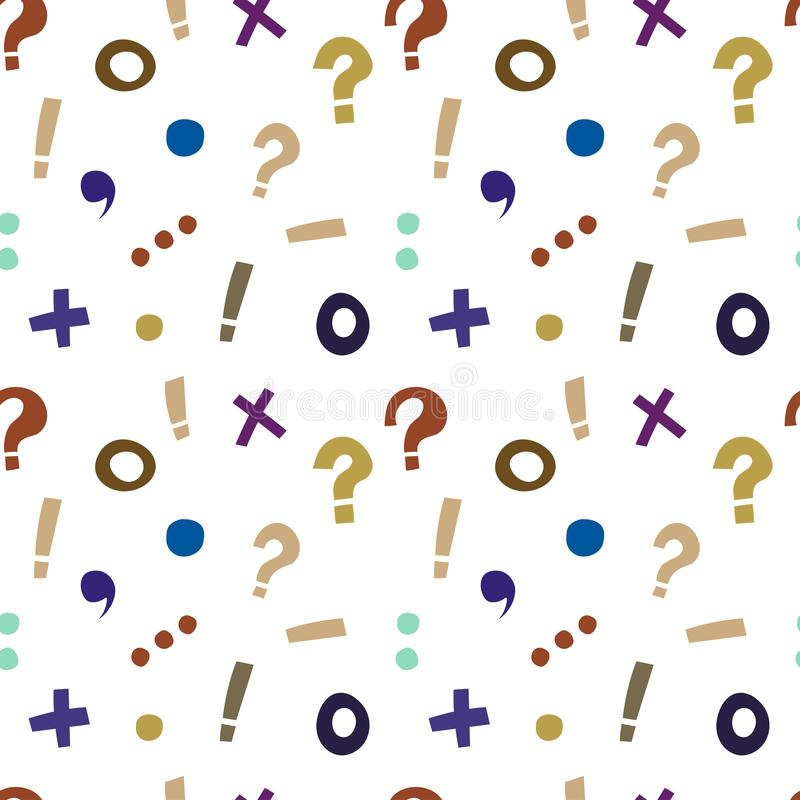 Bright pattern of punctuation marks and mathematical signs stock illustration