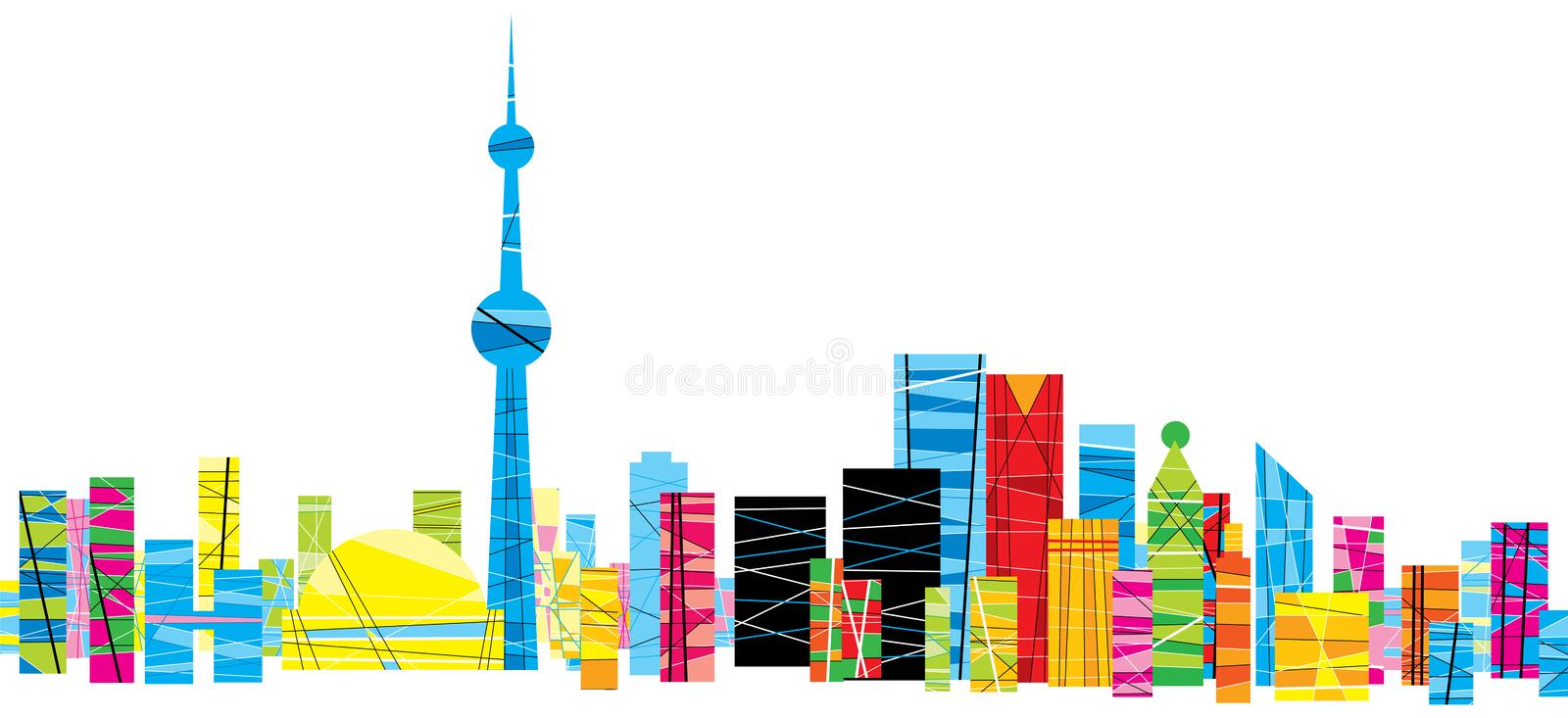 Bright Pattern Toronto. A bright, patterned skyline of the city of Toronto, Ontario, Canada stock illustration