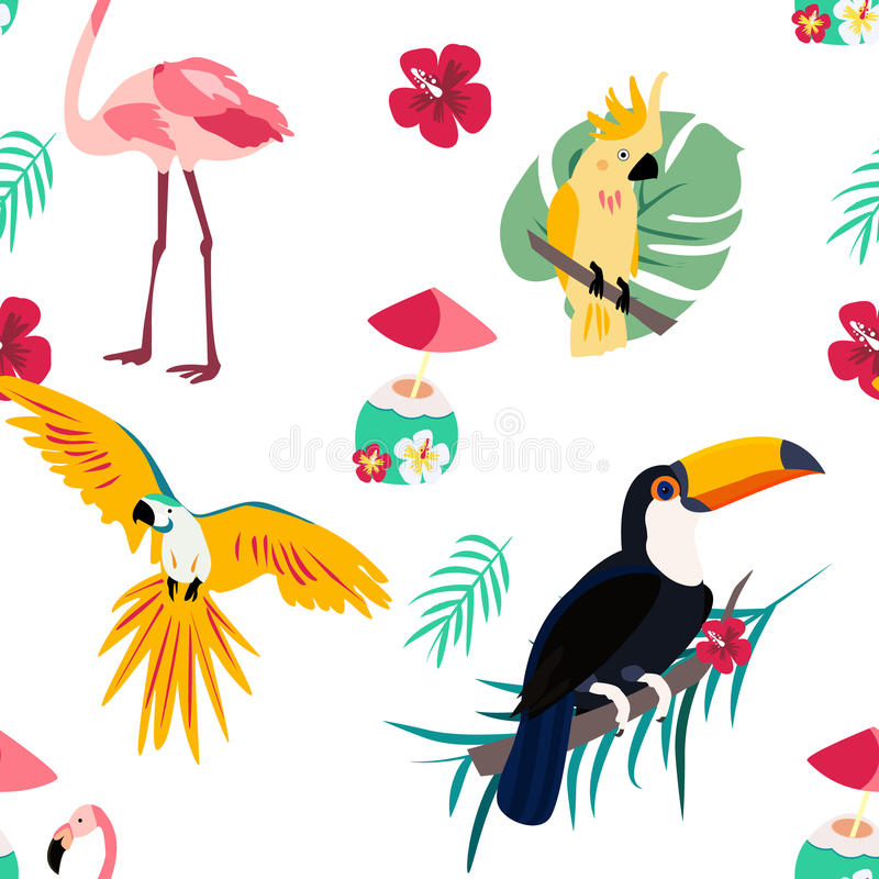 Bright pattern with toucan, parrot, flamingo and cocktail. Can be used for wrapping, envelope paper, textile. Bright pattern with toucan, flamingo, parrot and stock illustration