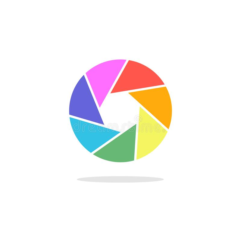 Bright phote camera aperture symbol. Lens diaphragm logotype. Bright phote camera aperture symbol. Lens diaphragm logo vector illustration