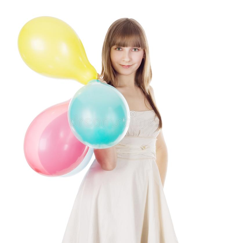 Picture of happy blonde with color balloons royalty free stock images