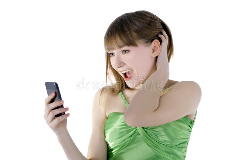 picture of happy woman with cell phone royalty free stock photo