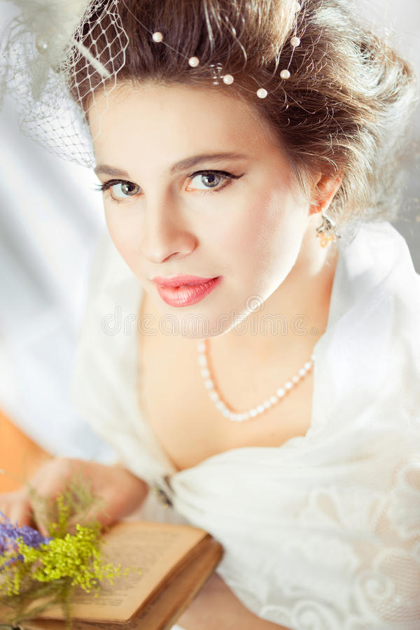 Bright picture of lovely bride stock photos