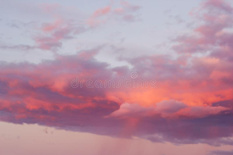 Bright pink clouds. On a blue sky at the sunset royalty free stock photography
