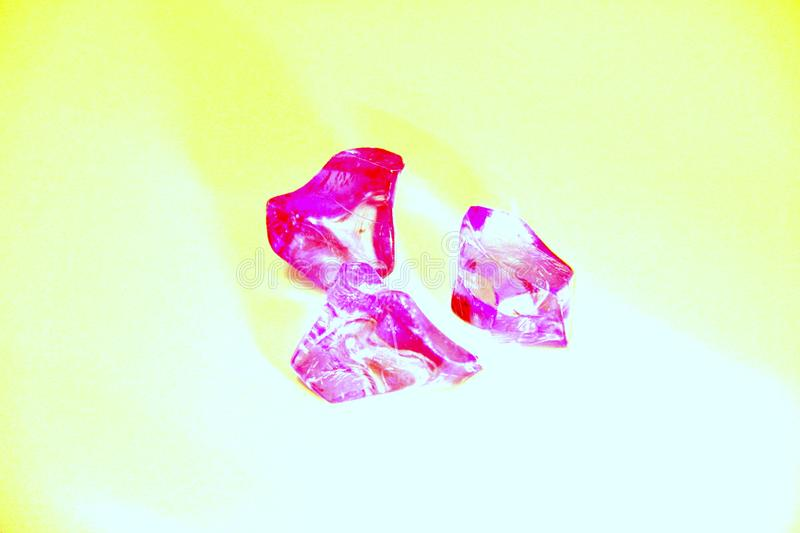 Bright pink crystal. On white transparent mountain mineral glass black and white cave perfect natural artificial stone royalty free stock photography