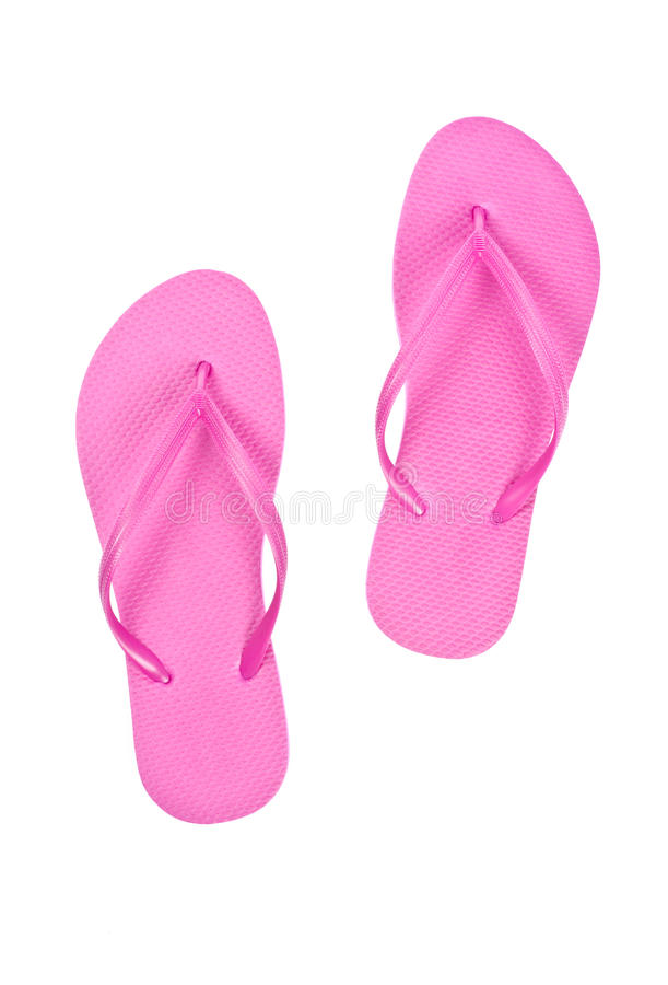 Bright Pink Flip Flops Isolated on White. Background royalty free stock photos