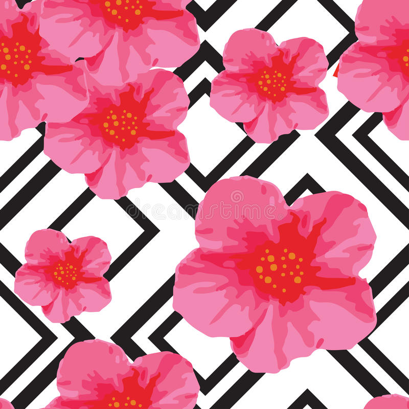 Bright Pink Flowers Seamless Pattern with Geometric Ornament. Black Stripes. Vector Illustration royalty free illustration