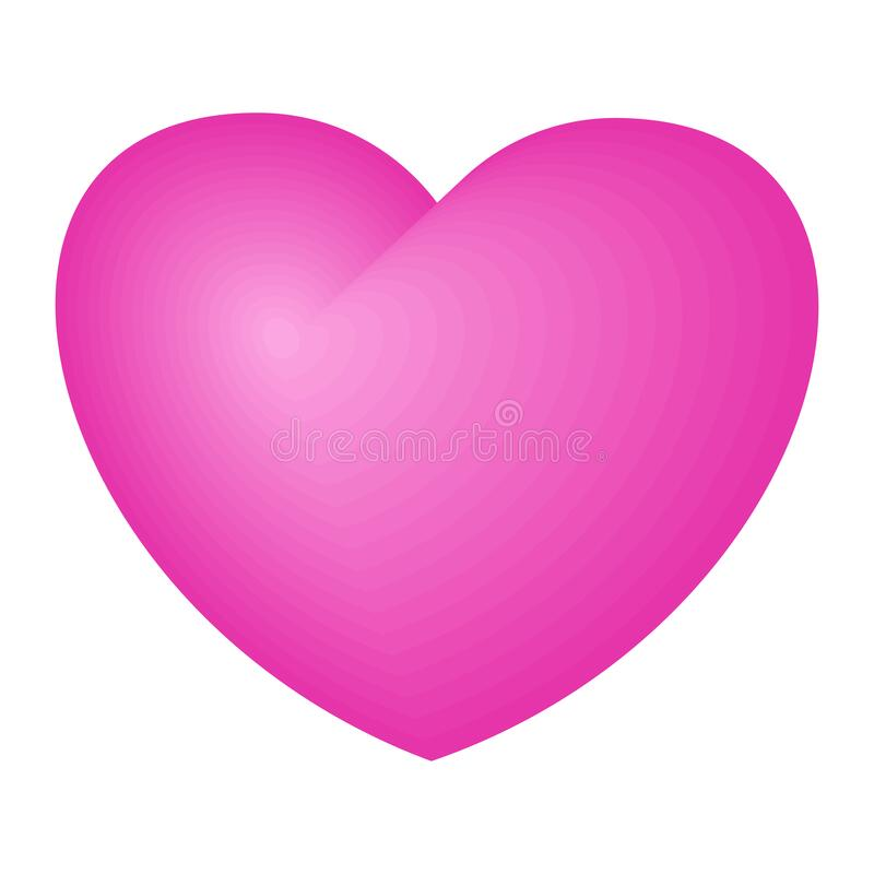 Bright pink heart. A symbol of love and tenderness stock illustration