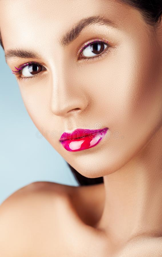 Bright pink lips royalty free stock image