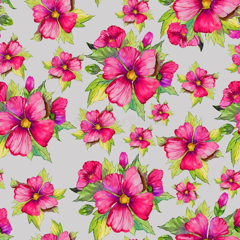 Bright pink malva flowers with green buds and leaves on light grey background. Seamless floral pattern. Watercolor painting. Hand drawn illustration. Can be stock illustration