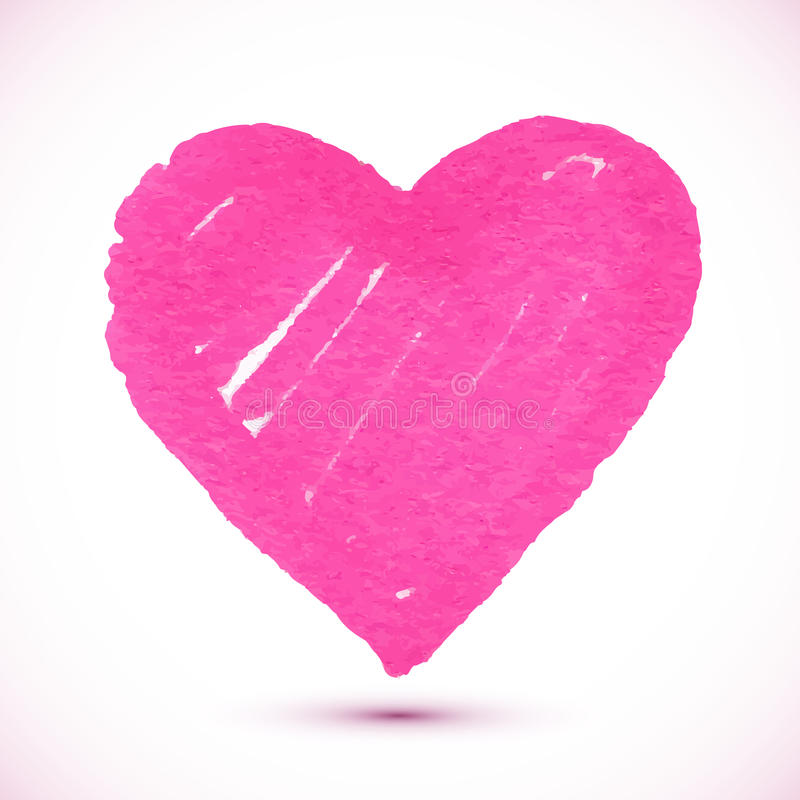 Bright pink marker textured vector heart. With shadow stock illustration