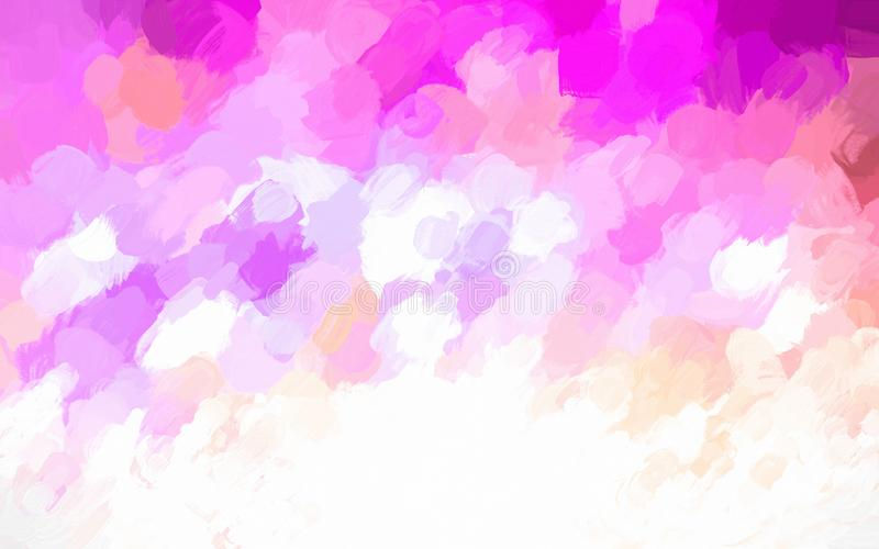 Bright pink, orange and white watercolor painted background illustration. Pink, orange and white blotched background illustration. Paint blotches of different stock illustration