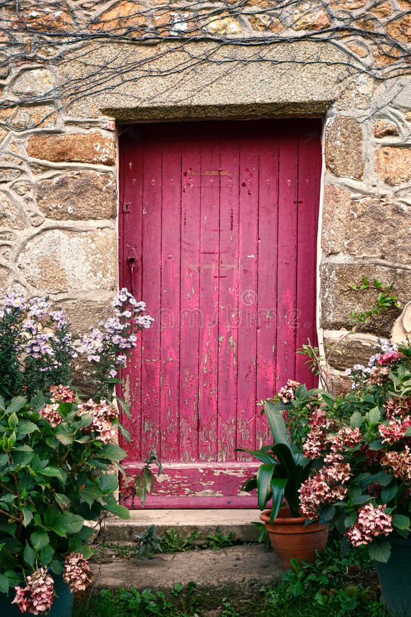 Bright Pink Paint Wood Door on Old Stone House. Bright pink paint wood door with crooked archway on an old stone house framed with flowers in a quaint village in stock images