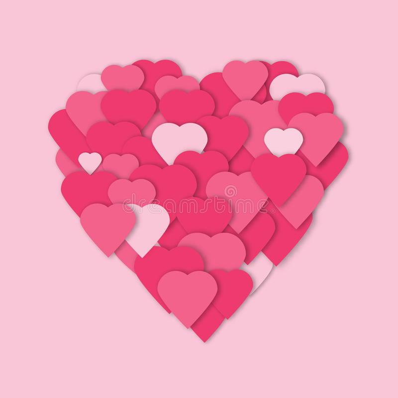 Bright pink paper hearts vector background. Vector hearts collage in heart form. vector illustration