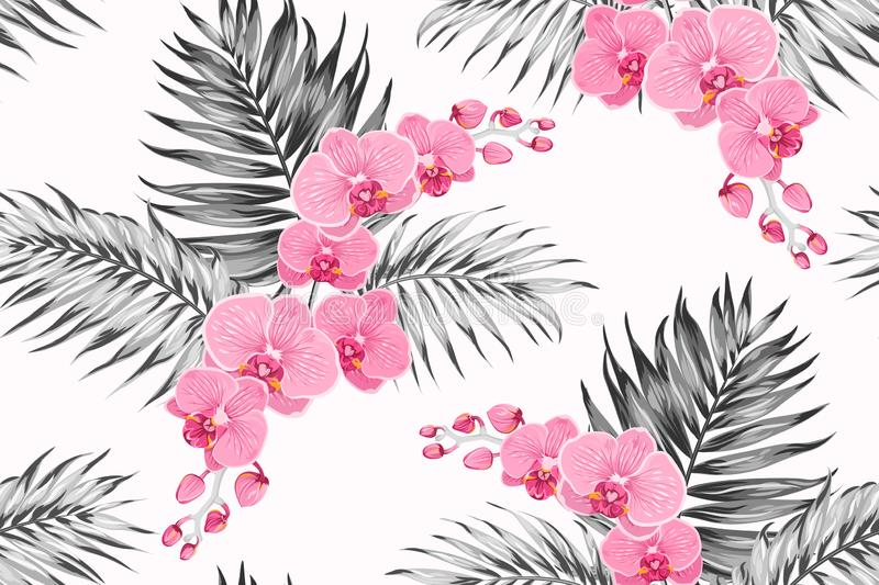 Bright pink purple orchid phalaenopsis exotic flowers greyscale tropical jungle palm tree leaves seamless pattern. vector illustration