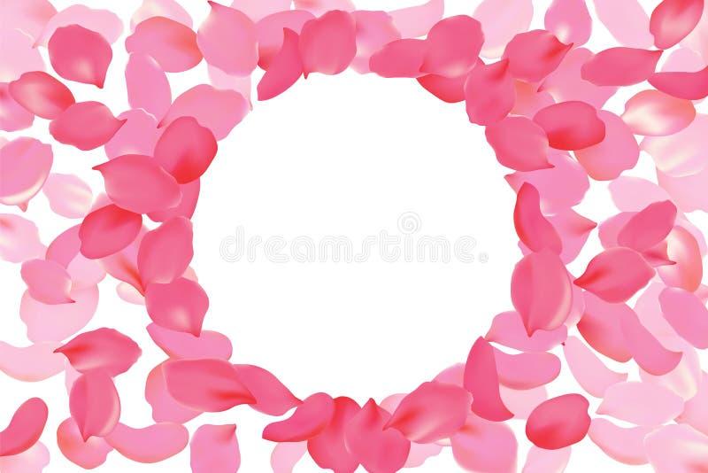 Bright pink rose petal frame round circle. Background flower template vector illustration. Realistic 3d detailed blossom vector illustration