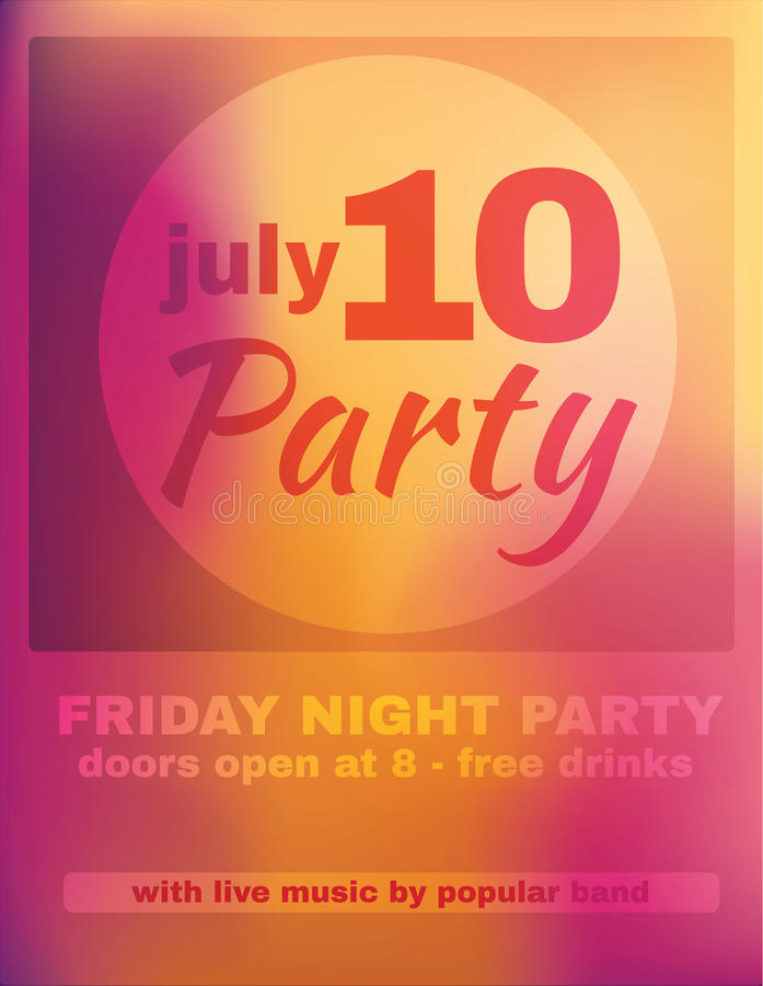 Bright pink and yellow party poster design. Vibrant pink and yellow party poster template design vector illustration