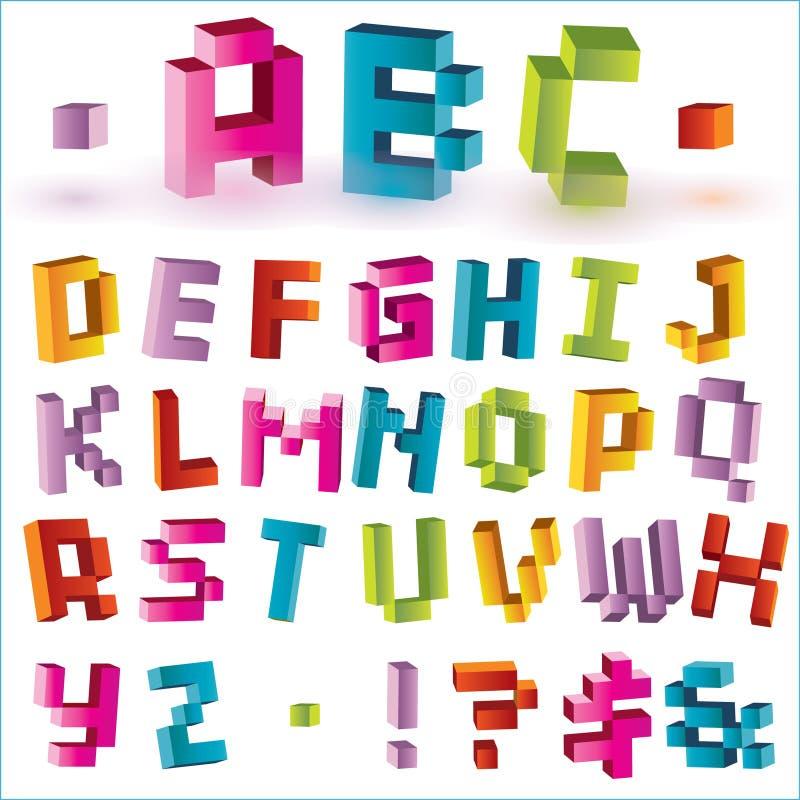 Bright pixel alphabet stock illustration