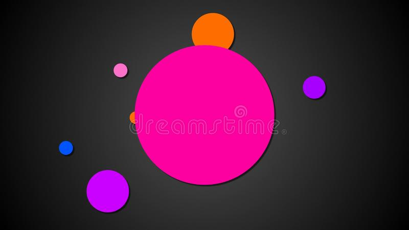 Bright planets are on orbits in space, cartoon style backdrop, computer generated background, 3d rendering royalty free illustration