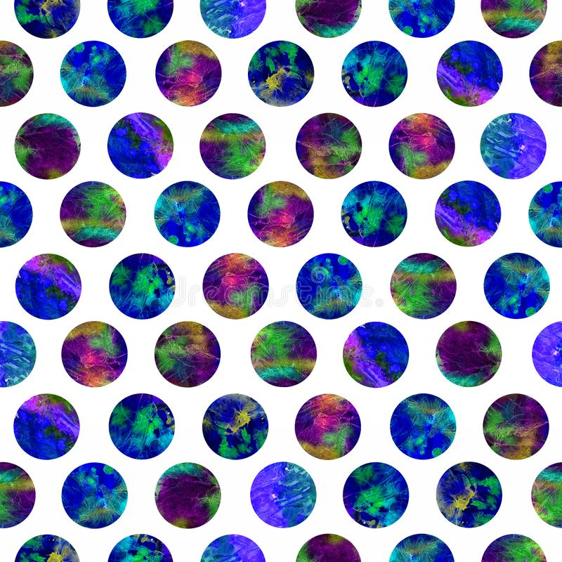 Bright polka dot abstract grunge colorful splashes texture watercolor seamless pattern design in blue stock photography