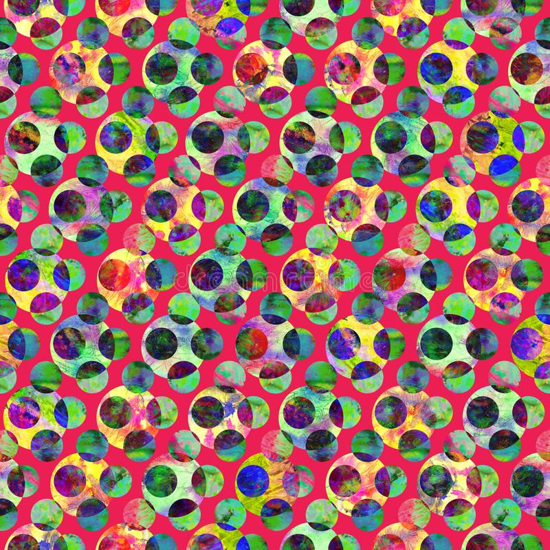 Bright polka dot abstract grunge colorful splashes texture watercolor seamless pattern design in green, yellow, red royalty free stock images