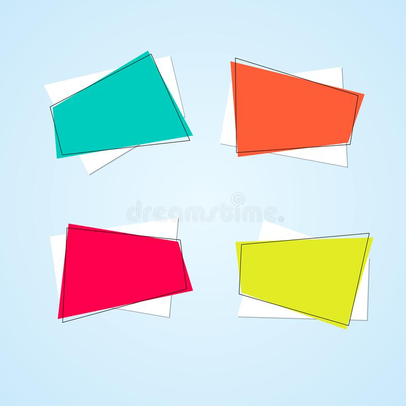 Bright polygon banners framed on a light background Empty blue yellow coral pink price tags layout Set Modern design element royalty free illustration