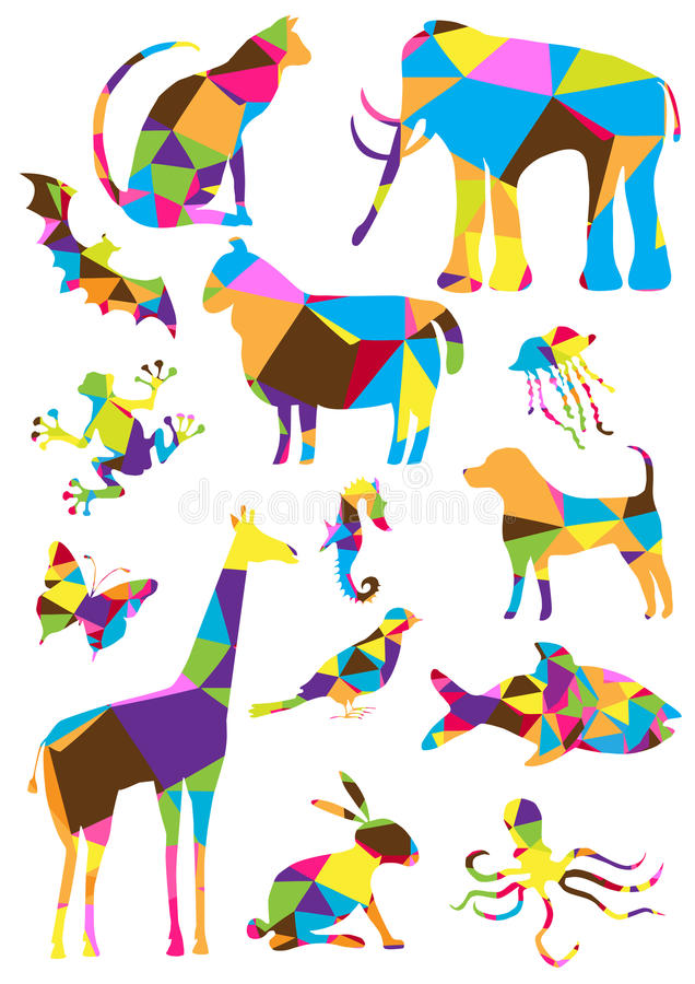 Bright polygons animals collection stock illustration