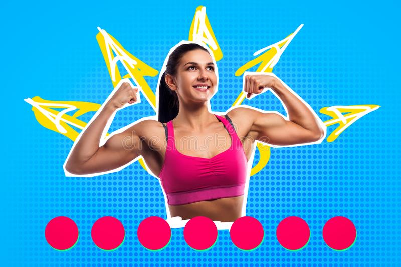 Bright pop art portrait of a young sports woman stock photo