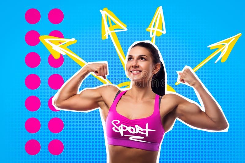 Bright pop art portrait of a young sports woman royalty free stock images