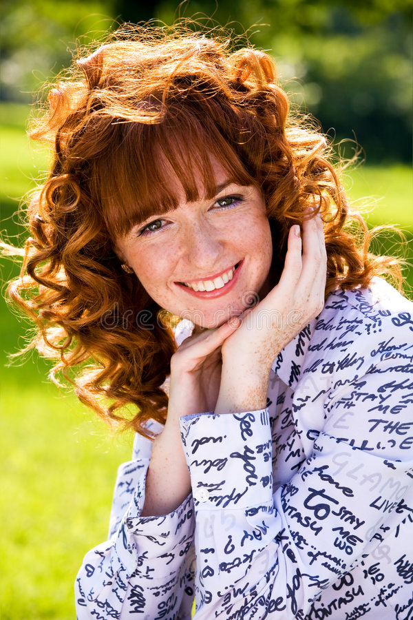 Free Bright Portrait Of Red-haired Young Woman Outdoors Stock Photo - 6344510