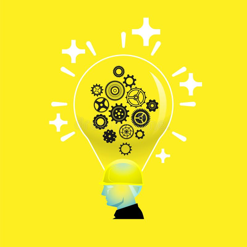 Bright positive thinking foreman with light bulb head. Bright positive thinking foreman with gear wheels in light bulb head, intelligent creative builder concept vector illustration