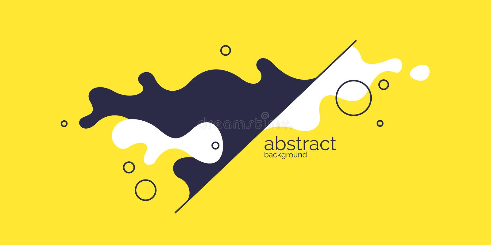 Bright poster with dynamic waves. Vector illustration in minimal style. Abstract background. royalty free illustration