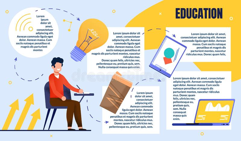 Bright Poster Guy Creative Education in Audience. royalty free illustration