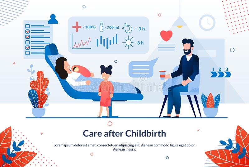 Bright Poster Inscription Care After Childbirth. Beneficial Effects are Observed Traditional Medicine. Mother Lying on Bed with Newborn Baby, Father is Sitting vector illustration