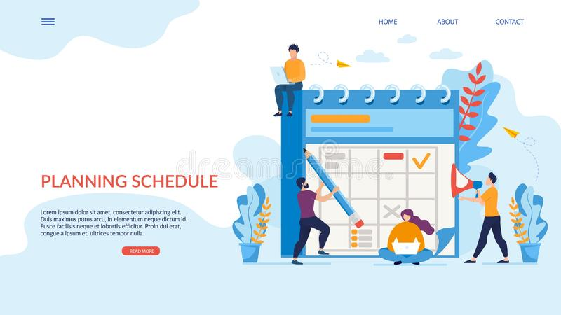 Bright Poster Planning Schedule Lettering Flat. royalty free illustration