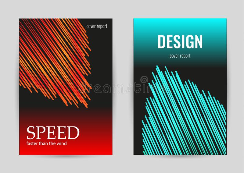 Bright poster with red and green stripes on black background. Set vertical luminous banners royalty free illustration