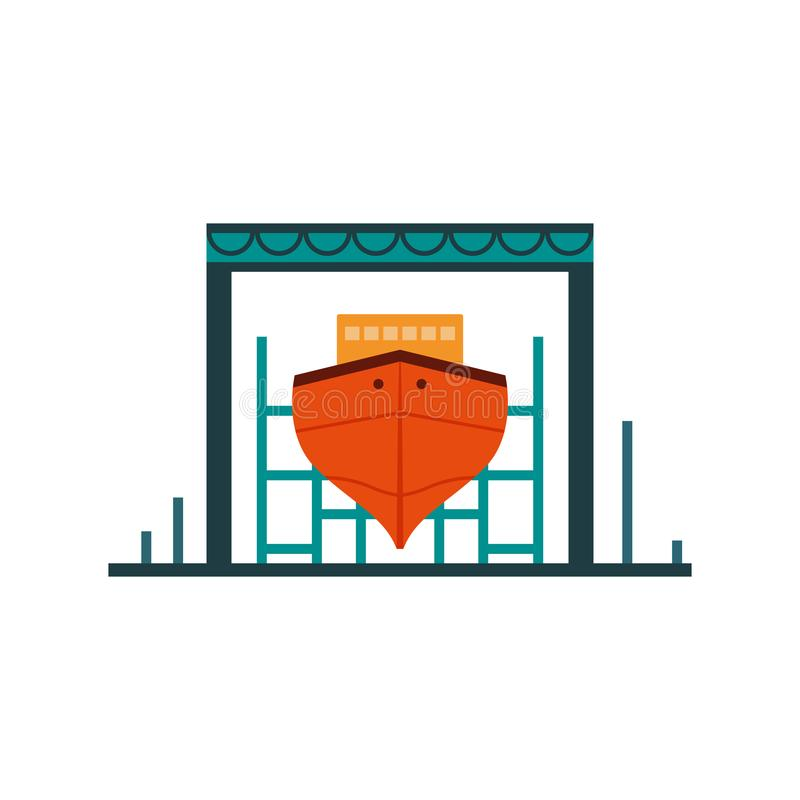 Bright poster shipyard, place construction ships. Repair water transport. shipyard is located on seafront in large port city. Amount facilities for royalty free illustration
