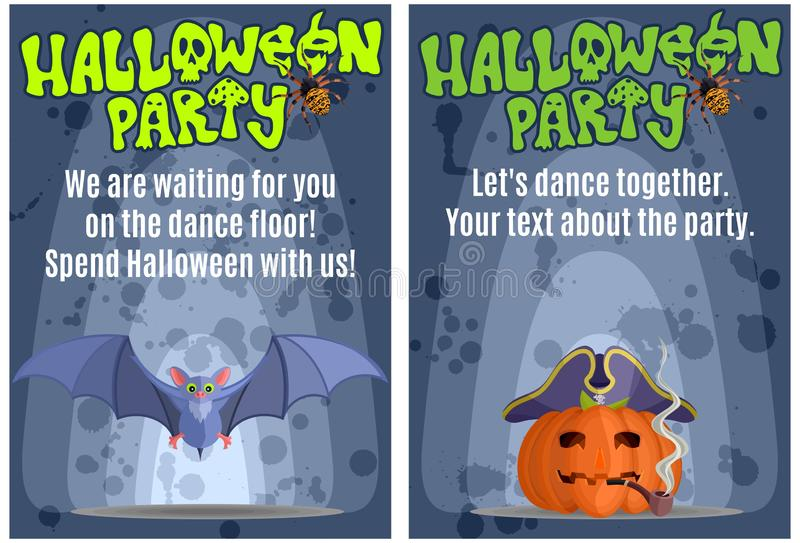 Bright posters for the Halloween Masquerade Party vector illustration